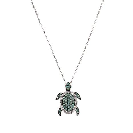 Colleen Lopez Sterling Silver Alexandrite Turtle Pendant with Chain