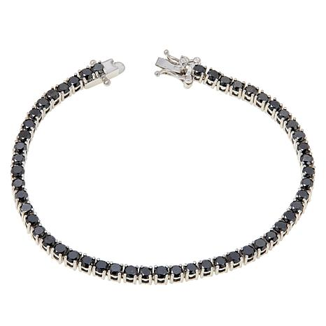 Colleen Lopez Sterling Silver Black Diamond Tennis Bracelet