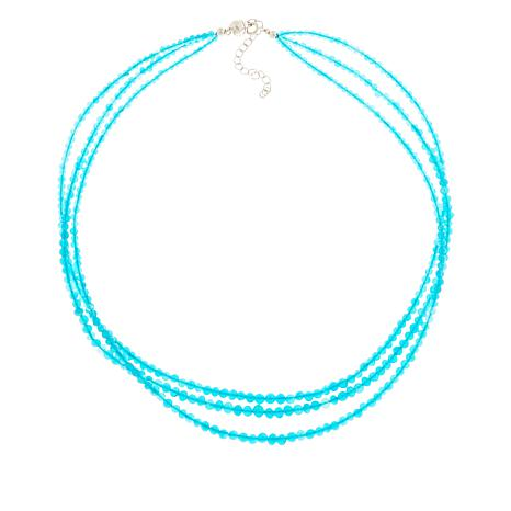 Colleen Lopez Sterling Silver Blue Opal 3-Strand Necklace