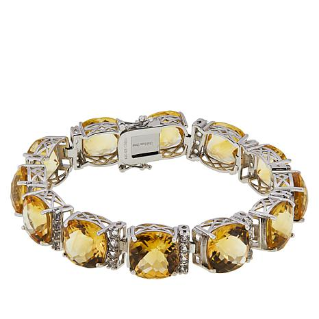 Colleen Lopez Sterling Silver Citrine and White Topaz Bracelet