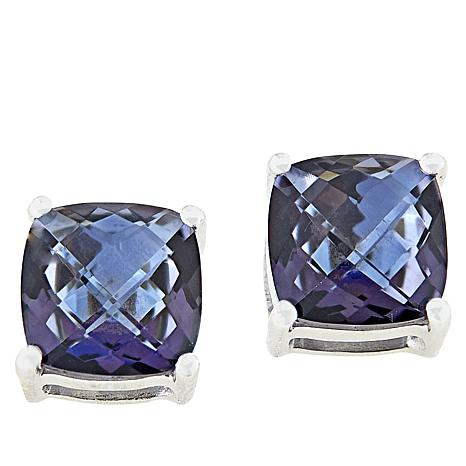 Colleen Lopez Sterling Silver Cushion-Cut Blue Quartz Stud Earrings