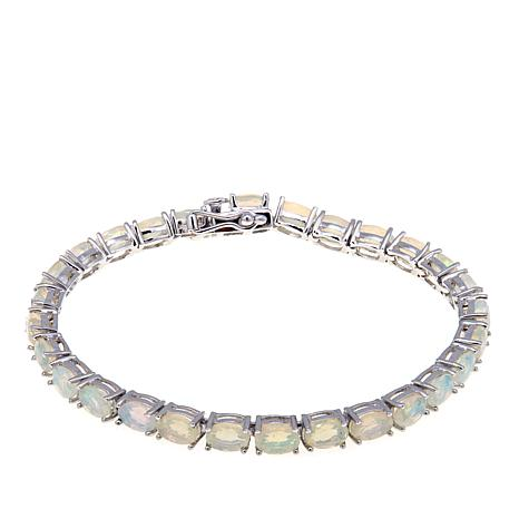 Colleen Lopez Sterling Silver Faceted Ethiopian Opal Line Bracelet