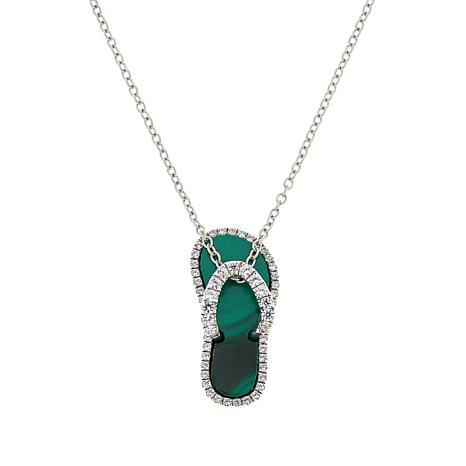 Colleen Lopez Sterling Silver Gemstone Sandal Pendant with Chain