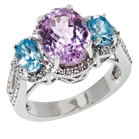 Colleen Lopez Sterling Silver Kunzite and Blue Zircon Ring