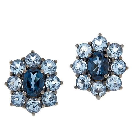 Colleen Lopez Sterling Silver London and Sky Blue Topaz Earrings