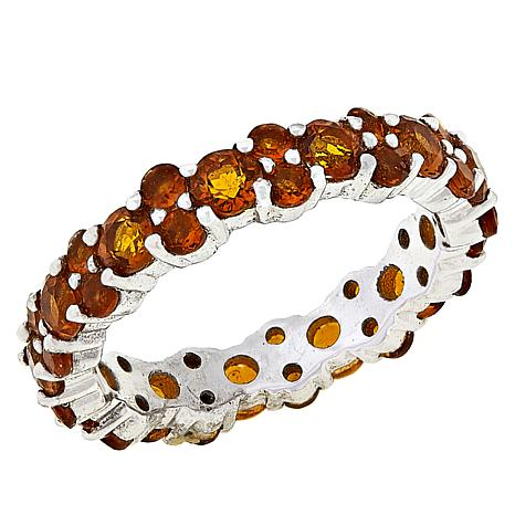 Colleen Lopez Sterling Silver Madeira Citrine Eternity Band Ring