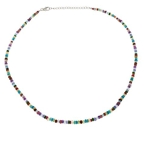 Colleen Lopez Sterling Silver Multi-Gemstone Bead Necklace