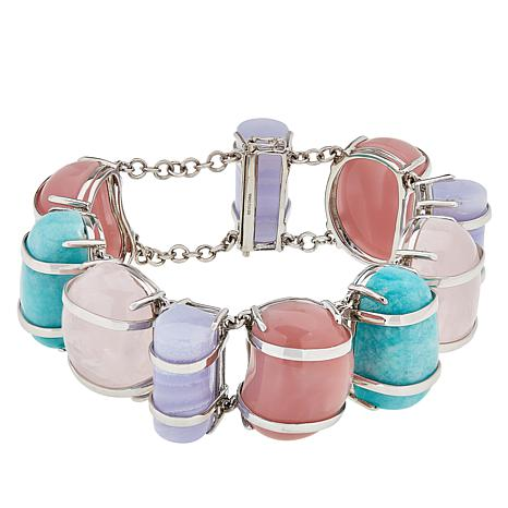 Colleen Lopez Sterling Silver Multicolor Opaque Gem Bracelet
