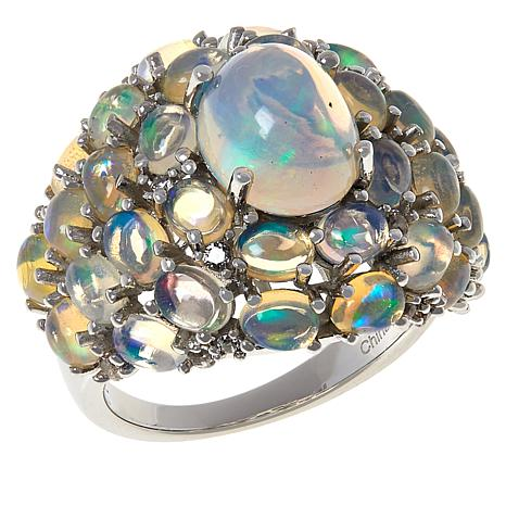 Colleen Lopez Sterling Silver Opal and White Zircon Cocktail Ring