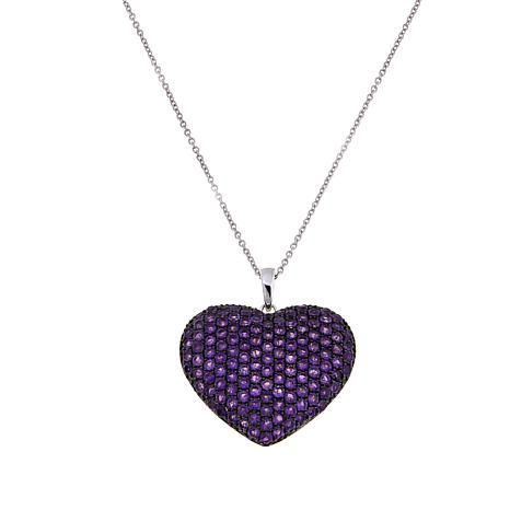 Colleen Lopez Sterling Silver Pavé Gemstone Heart Pendant with Chain