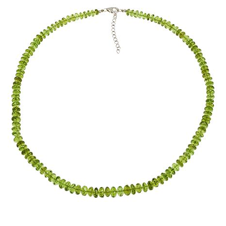 Colleen Lopez Sterling Silver Peridot Faceted Bead Necklace