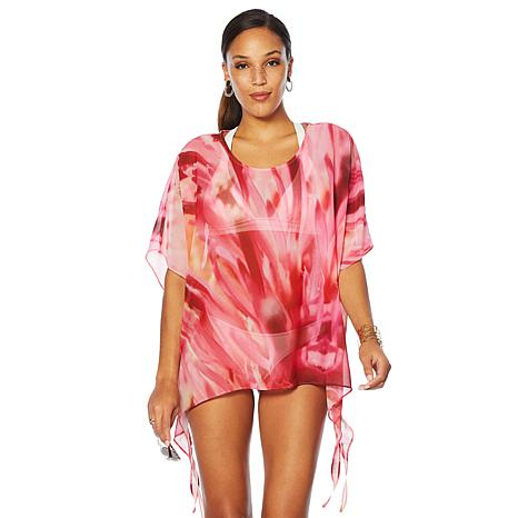 Colleen Lopez Tropical Charm Printed Poncho Top