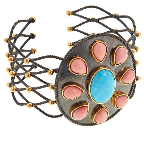 Colleen Lopez Turquoise and Coral 2-tone Cuff Bracelet