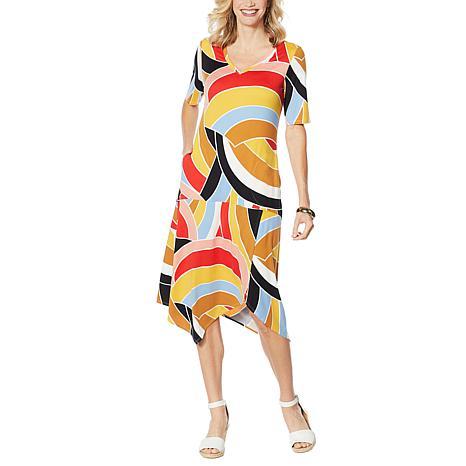 Comfort Code Elbow-Sleeve Handkerchief Hem Dress