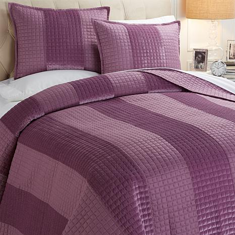 Concierge 3-piece Velvet Stripe Coverlet Set