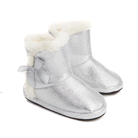 Concierge Metallic Slipper Booties with Sherpa Trim