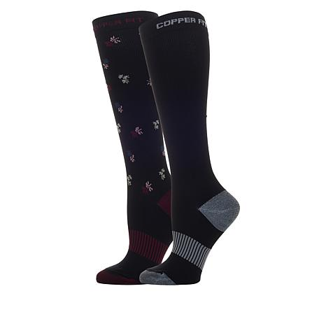 Copper Fit™ Ladies Ditsy Compression Socks 2-pack