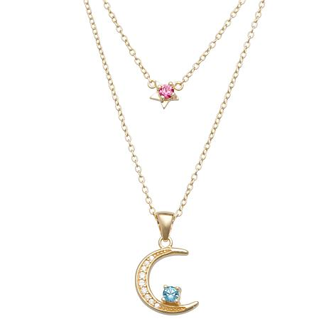 Couples' Birthstone Crystal & CZ Star and Moon Necklace