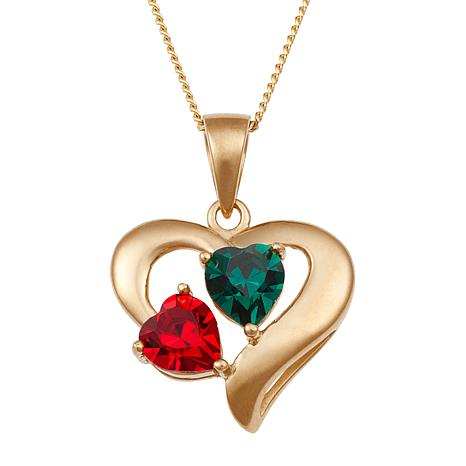 "Couples' Birthstone Heart Pendant with 18"" Chain"