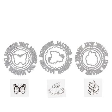 Crafters Companion Gemini Sentiments Circular Stamp And Die Sets