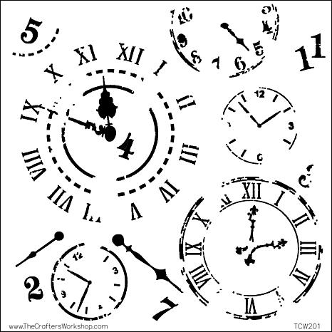"Crafters Workshop 12"" x 12"" Plastic Template - Time Travel"