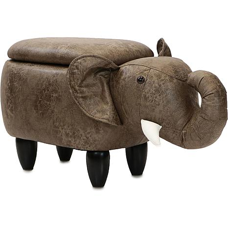 "Critter Sitters 15"" Plush Animal Storage Ottoman - Elephant"