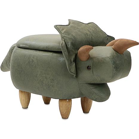 "Critter Sitters 15"" Plush Animal Storage Ottoman - Triceratops"