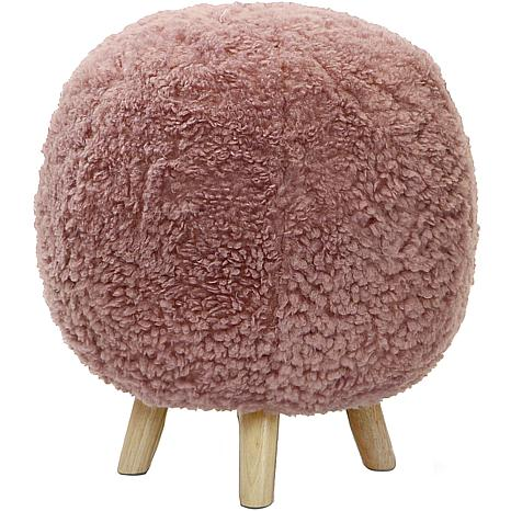 "Critter Sitters 19"" Plush Pouf Ottoman with Spindle Legs - Pink"