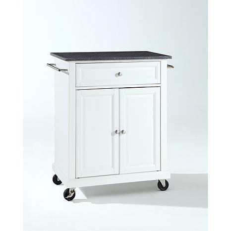 ... Crosley Black Granite Top Portable Kitchen Cart   White ...