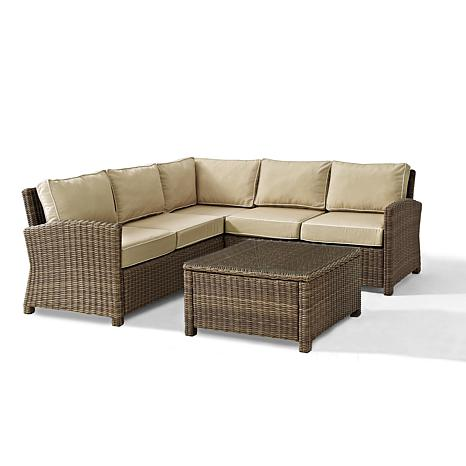 Crosley Bradenton 4 Piece Outdoor Wicker Sectional 10077337 Hsn