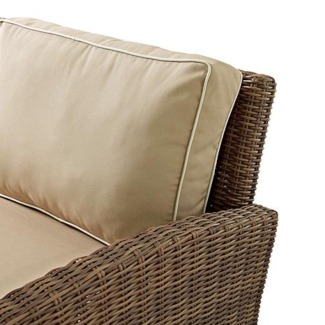 crosley bradenton outdoor wicker loveseat sand