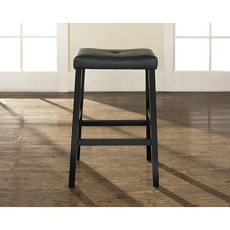 "Crosley Furniture Upholstered Saddle Seat 2pc 29"" Bar Stool Set-Black"