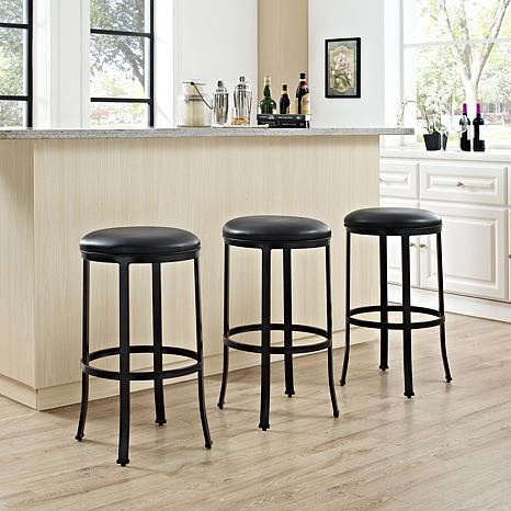 Crosley Furniture Windsor Bar Stool - Black/Black Cushion