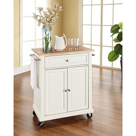 Crosley Natural Wood Top Portable Kitchen Cart White