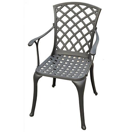 Crosley Sedona Cast Aluminum Arm Chairs-Charcoal Black