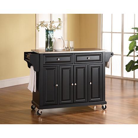 Crosley Stainless Steel Top Kitchen Cart - Black