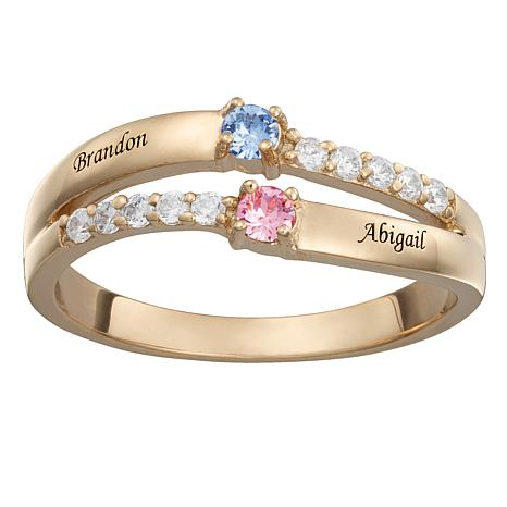 Crystal and CZ Couple's Birthstone Wave Band Ring