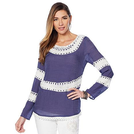 Curations Crochet Woven Top