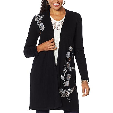 Curations Embroidered Cardigan