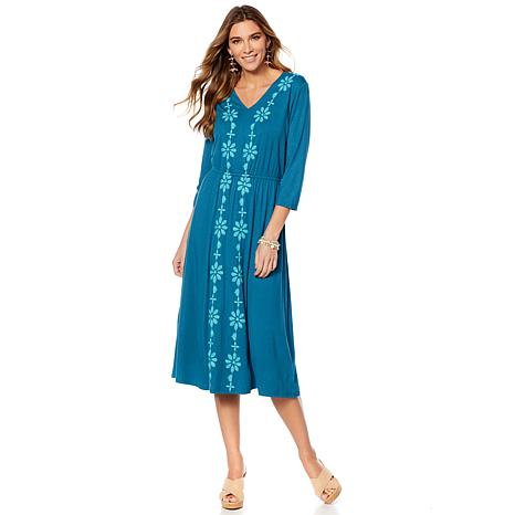 Curations Embroidered Knit Midi Dress