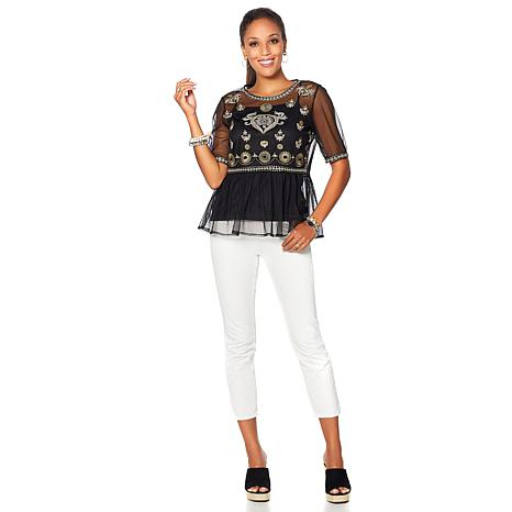 4c0bea92f45 Curations Embroidered Mesh Peplum Top - 8645832