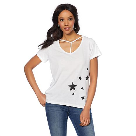 Daisy Fuentes T-Strap Graphic Tee