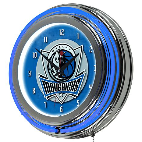 Dallas Mavericks Double Ring Neon Clock