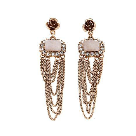Danielle Nicole Goldtone Rose Chandelier Earrings