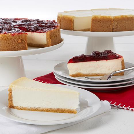 """David's Cookies Set of 2 10"""" New York Style and Strawberry Cheesecakes"""