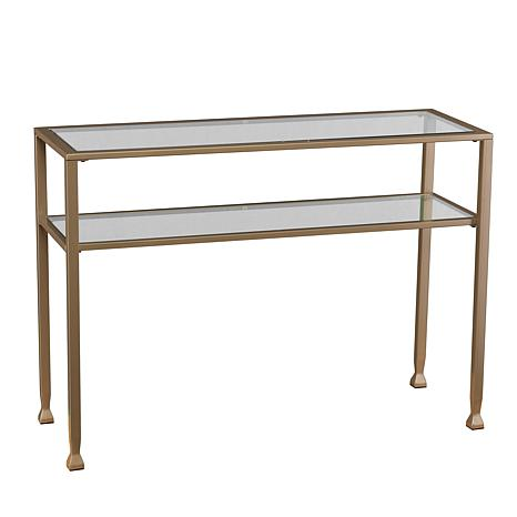 dayton metalglass console table matte gold