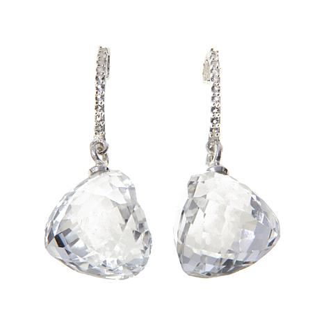 "Deb Guyot Herkimer ""Diamond"" Quartz Triangle Earrings"