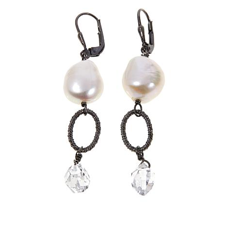 Deb Guyot  Herkimer Quartz & Pearl Drop Earrings