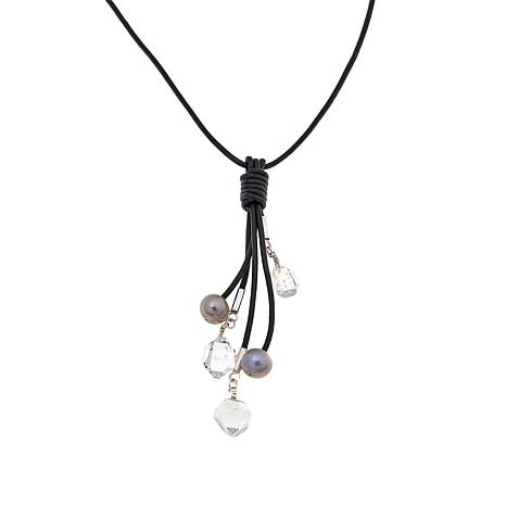 "Deb Guyot Herkimer Quartz Dangle Drop 32"" Necklace"