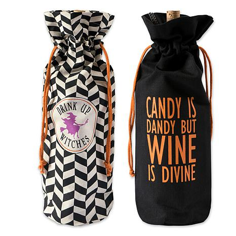 Design Imports All Hallows Eve Drawstring Wine Gift Bags Set of 2